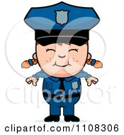 Clipart Happy Red Haired Police Girl Royalty Free Vector Illustration