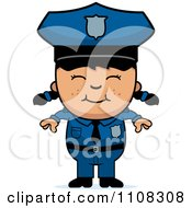 Clipart Happy Asian Police Girl Royalty Free Vector Illustration
