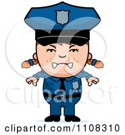 Clipart Angry Red Haired Police Girl Royalty Free Vector Illustration