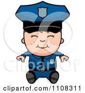 Clipart Happy Police Boy Sitting Royalty Free Vector Illustration