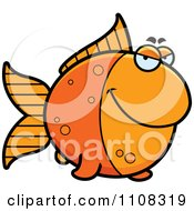 Clipart Sly Goldfish Royalty Free Vector Illustration by Cory Thoman