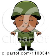 Clipart Happy Black Army Boy Royalty Free Vector Illustration