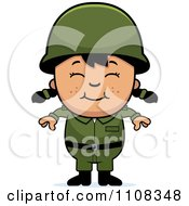 Clipart Happy Asian Army Girl Royalty Free Vector Illustration by Cory Thoman