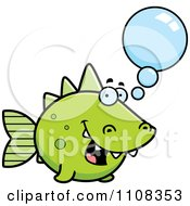 Clipart Talking Green Dino Fish Royalty Free Vector Illustration by Cory Thoman