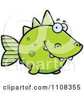 Clipart Green Dino Fish Royalty Free Vector Illustration by Cory Thoman