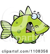 Clipart Scared Green Dino Fish Royalty Free Vector Illustration by Cory Thoman
