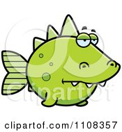 Clipart Bored Green Dino Fish Royalty Free Vector Illustration by Cory Thoman