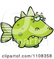 Clipart Crying Green Dino Fish Royalty Free Vector Illustration by Cory Thoman