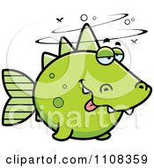 Clipart Drunk Green Dino Fish Royalty Free Vector Illustration by Cory Thoman