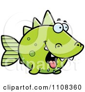 Clipart Hungry Green Dino Fish Royalty Free Vector Illustration by Cory Thoman
