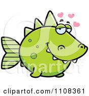 Clipart Amorous Green Dino Fish Royalty Free Vector Illustration by Cory Thoman
