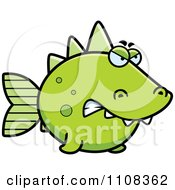 Clipart Angry Green Dino Fish Royalty Free Vector Illustration by Cory Thoman