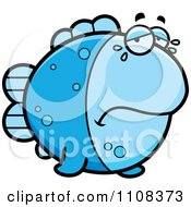 Clipart Crying Blue Fish Royalty Free Vector Illustration by Cory Thoman