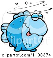 Clipart Drunk Blue Fish Royalty Free Vector Illustration by Cory Thoman