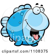 Clipart Hungry Blue Fish Royalty Free Vector Illustration