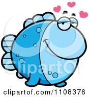 Clipart Amorous Blue Fish Royalty Free Vector Illustration by Cory Thoman