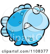 Clipart Angry Blue Fish Royalty Free Vector Illustration by Cory Thoman