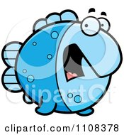 Clipart Scared Blue Fish Royalty Free Vector Illustration by Cory Thoman