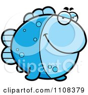 Clipart Sly Blue Fish Royalty Free Vector Illustration by Cory Thoman