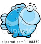 Clipart Blue Fish Royalty Free Vector Illustration by Cory Thoman