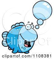 Clipart Talking Blue Fish Royalty Free Vector Illustration