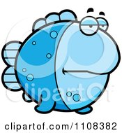 Clipart Bored Blue Fish Royalty Free Vector Illustration by Cory Thoman