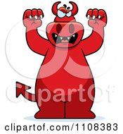 Clipart Attacking Big Red Devil Royalty Free Vector Illustration