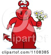 Clipart Big Red Devil Holding Flowers Royalty Free Vector Illustration