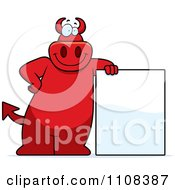 Clipart Big Red Devil Leaning By A Sign Royalty Free Vector Illustration