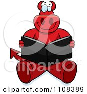 Clipart Big Red Devil Sitting And Reading Royalty Free Vector Illustration