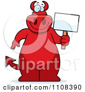 Clipart Big Red Devil Holding A Sign Royalty Free Vector Illustration