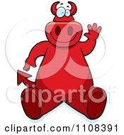 Clipart Big Red Devil Sitting And Waving Royalty Free Vector Illustration