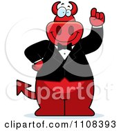 Clipart Big Red Devil With An Idea Wearing A Tux Royalty Free Vector Illustration