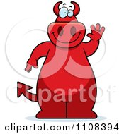 Clipart Big Red Devil Waving Royalty Free Vector Illustration