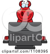 Clipart Big Red Devil Using A Computer Royalty Free Vector Illustration by Cory Thoman