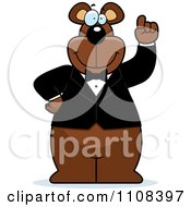 Clipart Bear Wearing A Tux And Holding Up An Idea Finger Royalty Free Vector Illustration