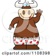 Clipart Happy Bull Wearing Boxes And Waving Royalty Free Vector Illustration