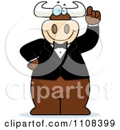 Clipart Bull Wearing A Tux And Holding Up An Idea Finger Royalty Free Vector Illustration