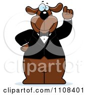 Clipart Brown Dog With An Idea Wearing A Tuxedo Royalty Free Vector Illustration