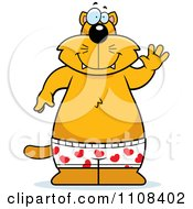 Clipart Ginger Cat Waving And Wearing Boxers Royalty Free Vector Illustration
