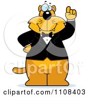 Clipart Ginger Cat With An Idea Wearing A Tuxedo Royalty Free Vector Illustration