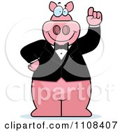 Clipart Pig With An Idea Wearing A Tux Royalty Free Vector Illustration