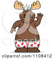 Clipart Happy Moose Waving And Wearing Boxers Royalty Free Vector Illustration by Cory Thoman