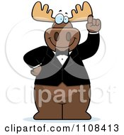 Clipart Happy Moose With An Idea Wearing A Tux Royalty Free Vector Illustration