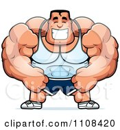 Clipart Happy Buff Bodybuilder Royalty Free Vector Illustration