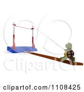 Clipart 3d Tortoise Pole Vault Track And Field Athlete 2 Royalty Free CGI Illustration