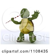 Clipart 3d Tortoise Javelin Track And Field Athlete 1 Royalty Free CGI Illustration