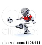 Clipart 3d Denmark Robot Playing Soccer Royalty Free CGI Illustration