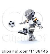 Clipart 3d German Robot Playing Soccer Royalty Free CGI Illustration