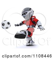 Clipart 3d Portugese Robot Playing Soccer Royalty Free CGI Illustration